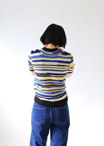 BLUE STRIPED KNIT CARDIGAN