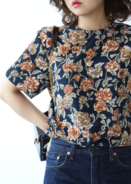 NAVY BROWN FLORAL BLOUSE