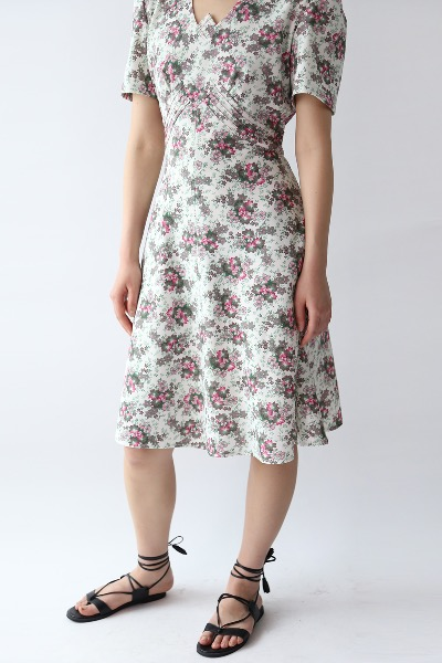 OBLIQUE CUT FLORAL DRESS