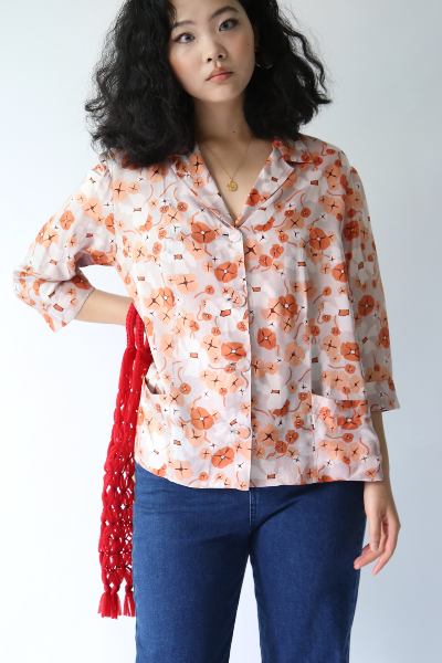 CORAL PRINTED ANTIQUE BLOUSE