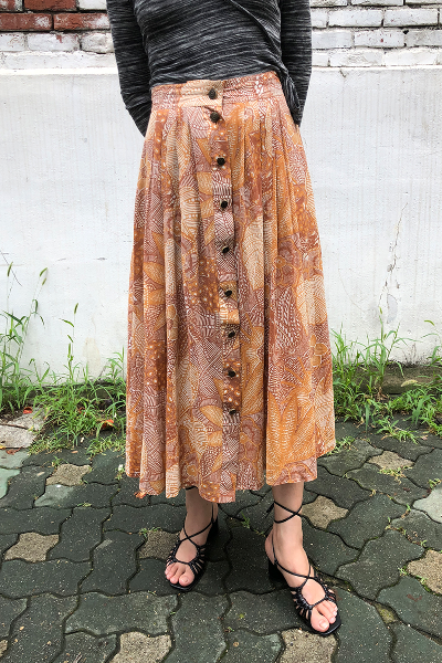 BROWN ETHNIC BUTTONS SKIRT