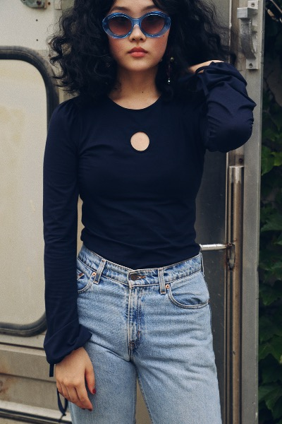 1970 JULIE JERSEY TOP(navy)
