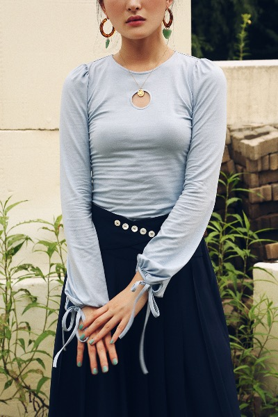 1970 JULIE JERSEY TOP(baby blue)