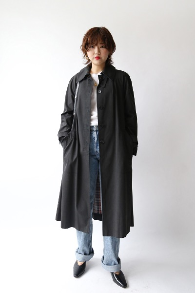 70'S CHARCOAL TRENCH COAT