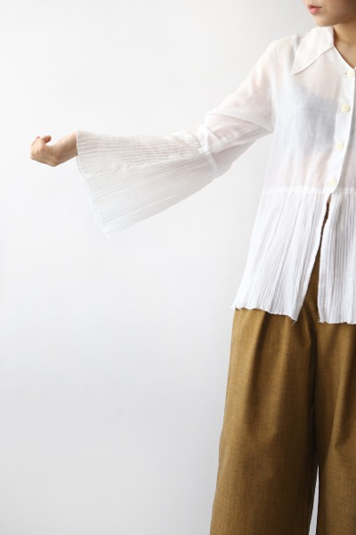 70'S WHITE PLEATS SHIRT