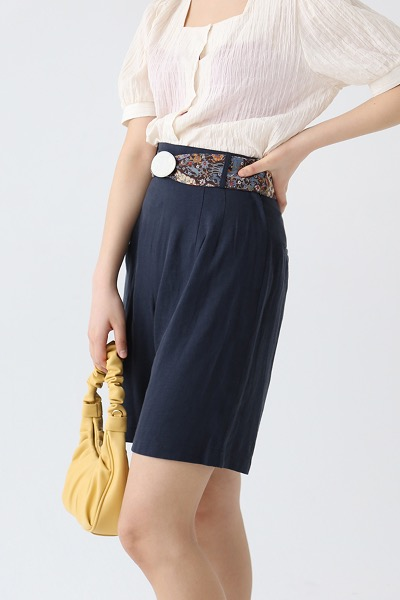 HIGH-WAISTED LINEN CULOTTES(navy)