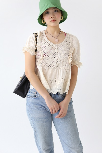 CROCHET KNIT BLOUSE(beige)