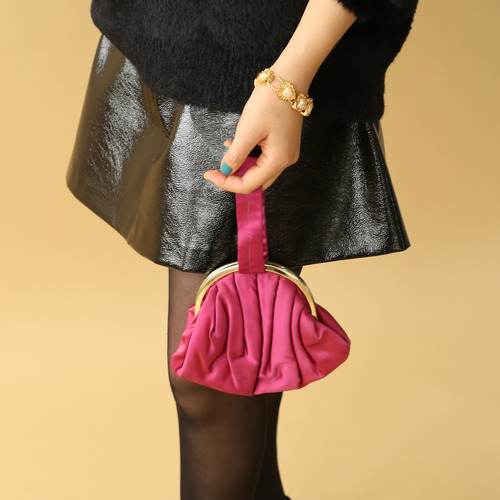 FUXIA SATIN HAND BAG