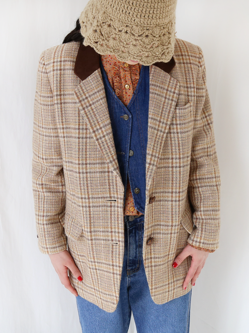 BEIGE CHECKED WOOL JACKET