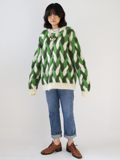 GREEN CABLE OVERSIZED KNIT