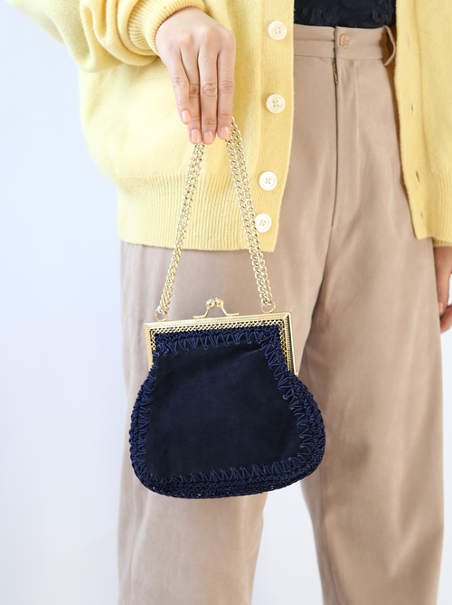 1960'S NAVY SUEDE BAG