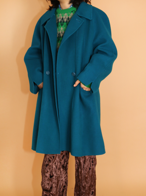 BRILLIANT BLUE HANDMADE COAT