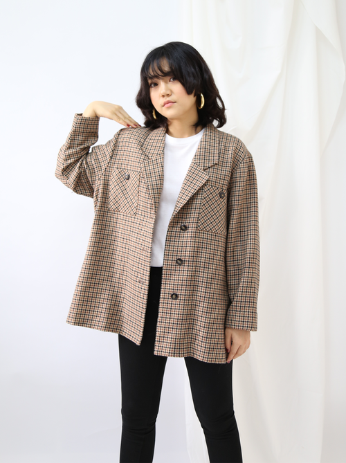 OVERSIZED BROWN CHECK JACKET