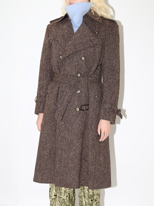 BOUCLE BROWN TRENCH COAT