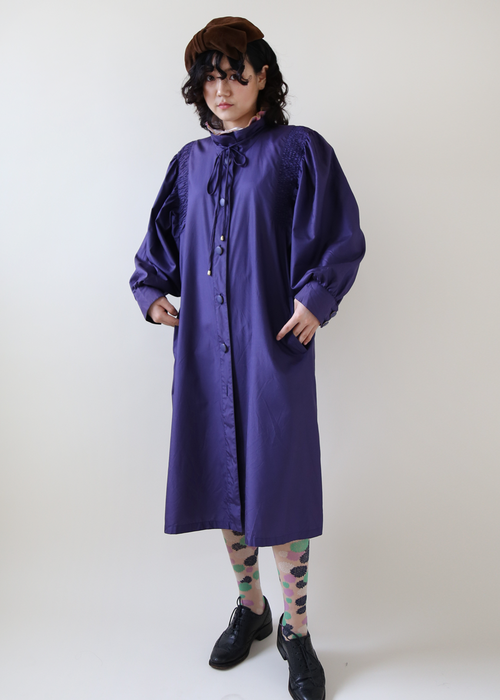 PURPLE SILK LONG COAT