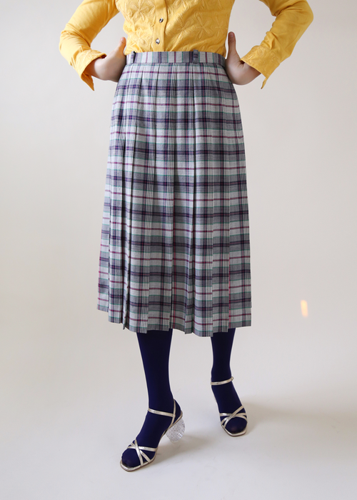 PLEATS CHECKED SKIRT