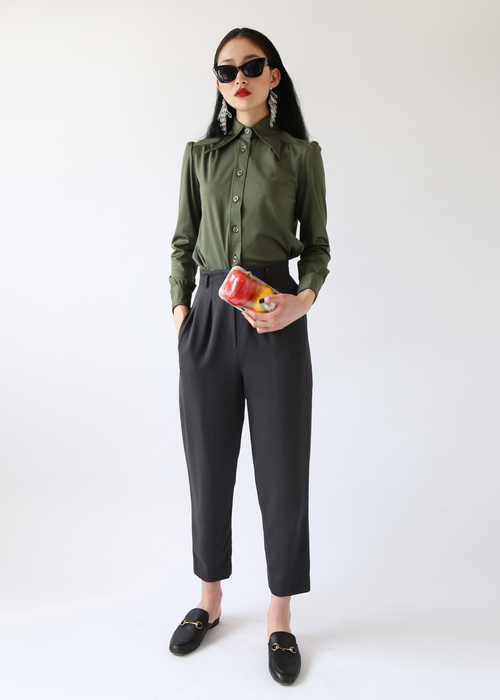CHARCOAL HIGH-WAISTED TROUSERS
