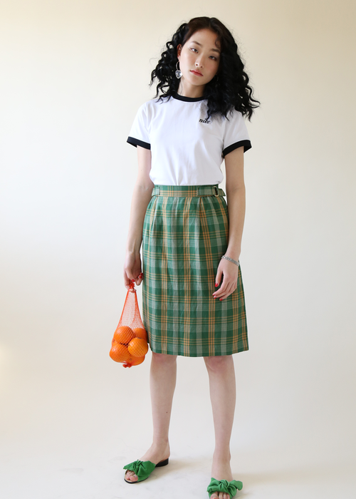 GREEN CHECK BELTED SKIRT