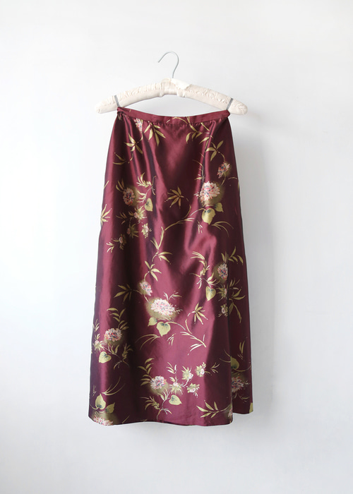 ORIENTAL FLOWER SILK SKIRT