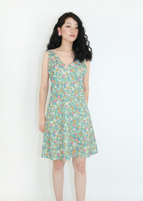 60'S FLORAL SLEEVELESS DRESS