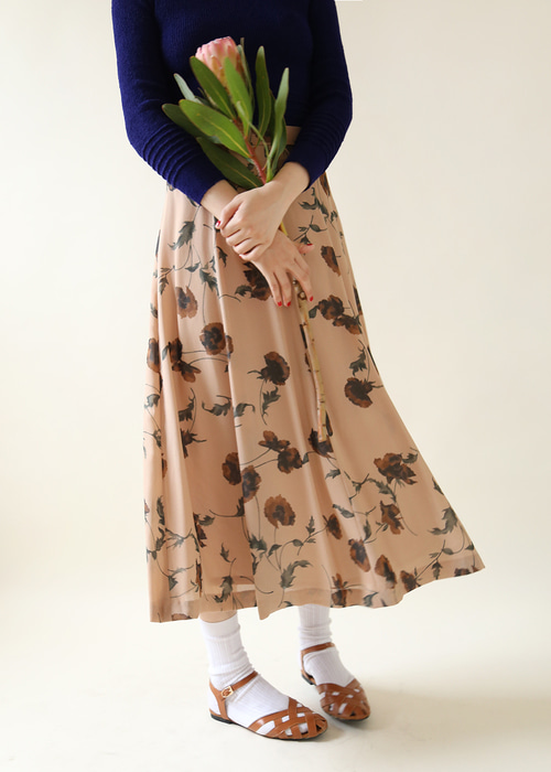 DUSTY APRICOT ROSE SKIRT
