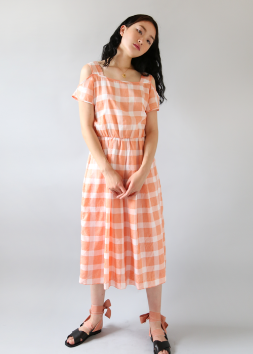 APRICOT GINGHAM CHECK DRESS