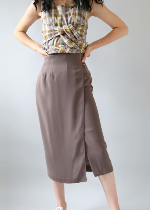 BROWN WRAP BUTTONS SKIRT