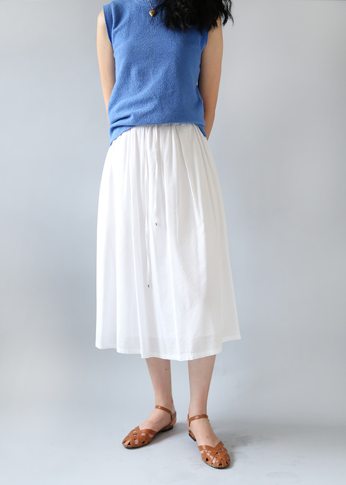 WHITE COTTON BANDING SKIRT