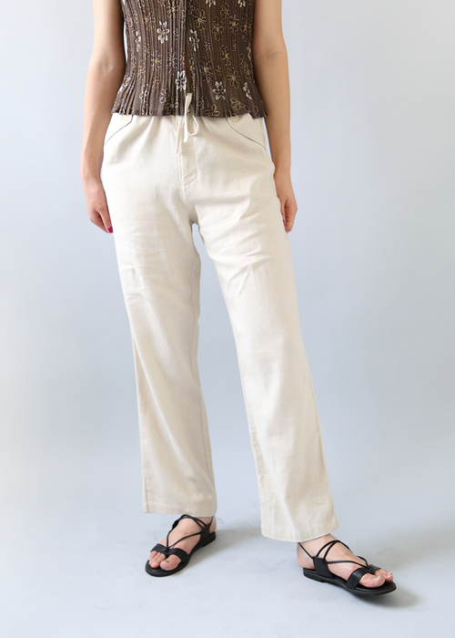 BEIGE LINEN STRING TROUSERS