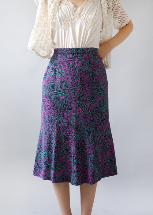 VIOLET SPRAY PRINT SKIRT