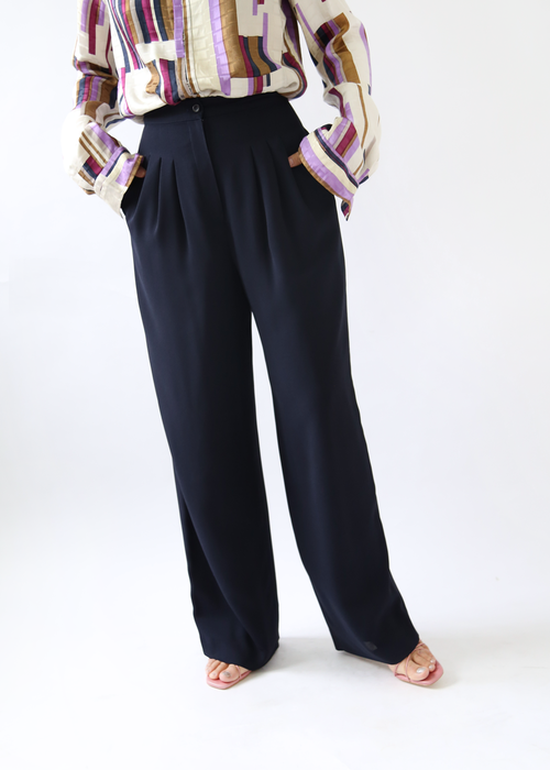 BACK TIE WIDE TROUSERS