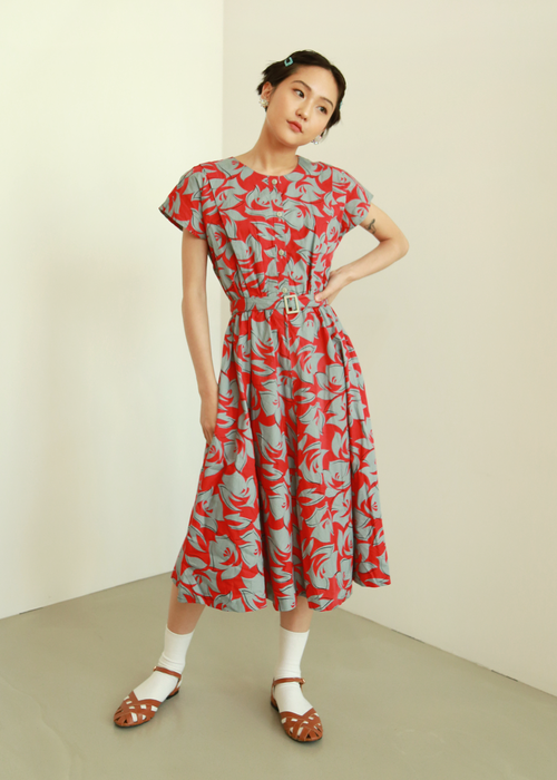 RED BELTED  COTTON DRESS