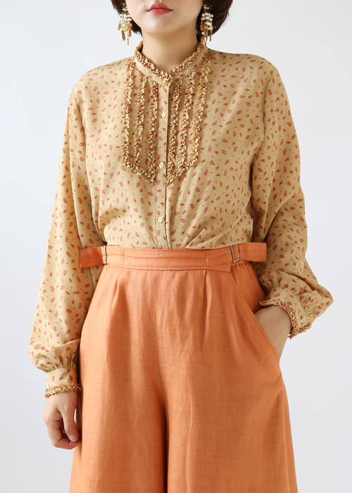 BEIGE PAISLEY FRILL BLOUSE