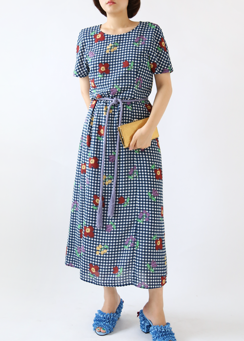 PLAIN CHECK FLOWER DRESS
