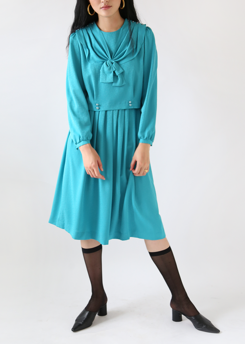 TURQUOISE BLUE RIBBON DRESS