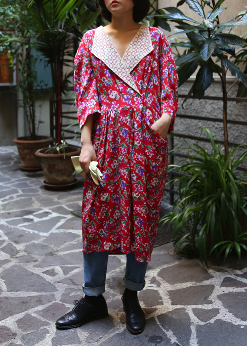 80'S RED FLORAL SILK DRESS