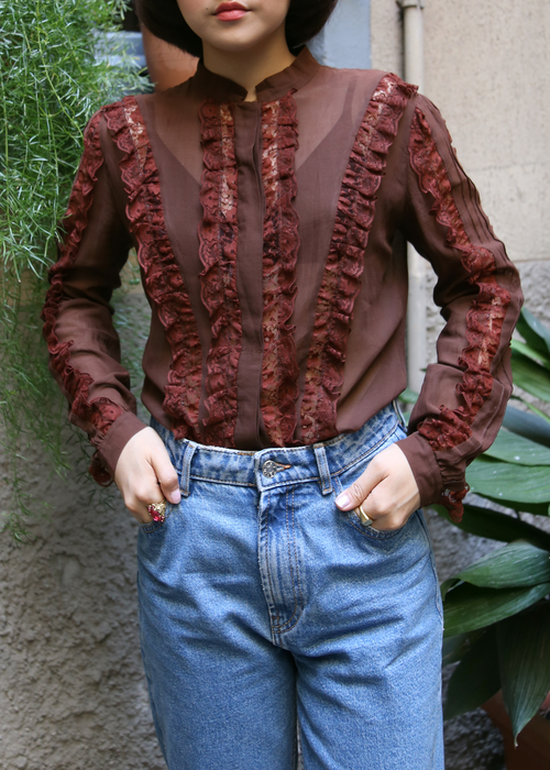 BROWN LACE SHEER BLOUSE