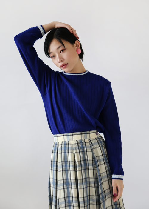 COBALT BLUE KNIT TOP