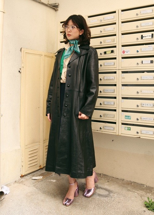BLACK LEATEHR LONG COAT