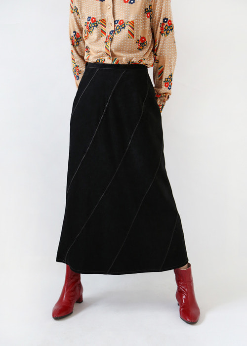 BLACK SUEDE LONG SKIRT