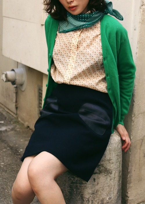GREEN WOOL CARDIGAN