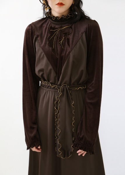 1970'S CHOCOLATE VELVET DRESS
