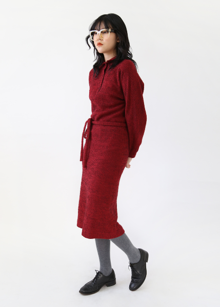 BURGUNDY ALPACA KNIT DRESS