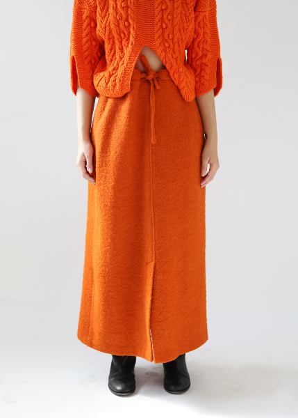ORANGE WOOL SKIRT