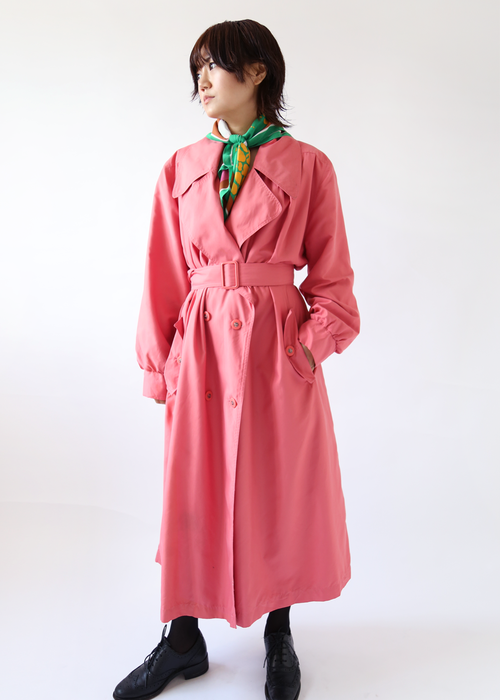PINK LONG TRENCH COAT