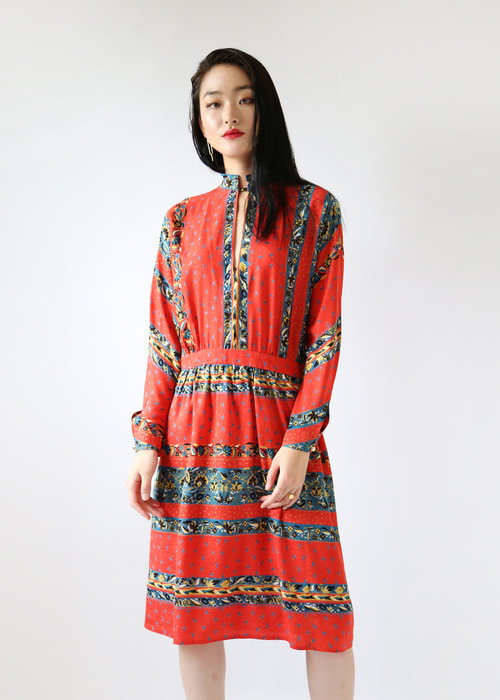 RED ORIENTAL SILK DRESS