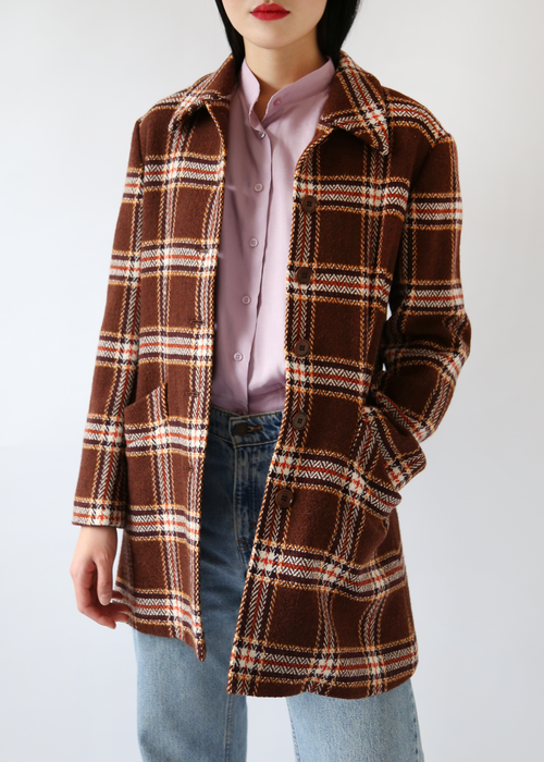 ITALIAN BROWN CHECK COAT