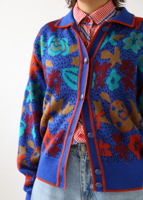 80'S BLUE WOOL CARDIGAN