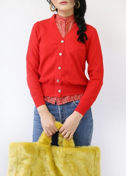 CHERRY RED BUTTON TOP