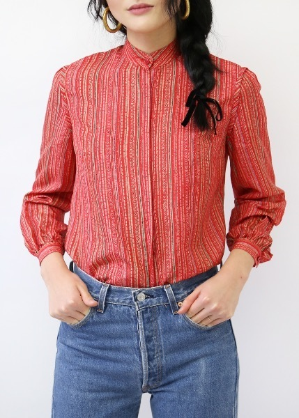 RED SILK PRINT BLOUSE